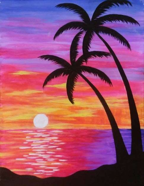 The Setting Sun Bathes This Tropical Paradise In A Beautiful Array Of Colors Sunset Painting Cute Canvas Paintings Sunset Landscape Painting