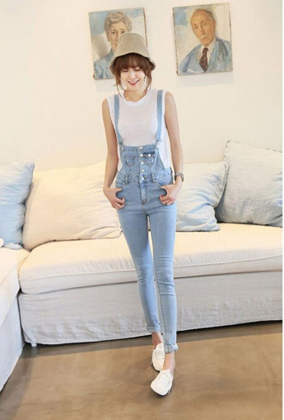 Denim Jumpsuit Korean Style And Jumpsuits On Pinterest