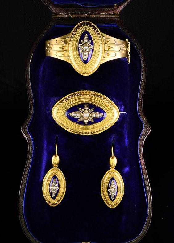 SOLDVictorian enamel diamond pearl demi by AntiqueVelvetGloves, £3000.00