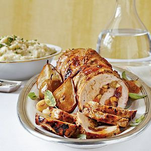 Spicy Fruit-Stuffed Pork Loin with Roasted Pears and Onions Recipe