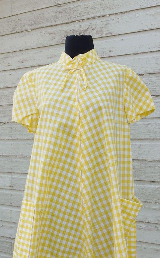 Vintage Yellow and White Gingham Tent by ThreadandBrushStudio, $35.00