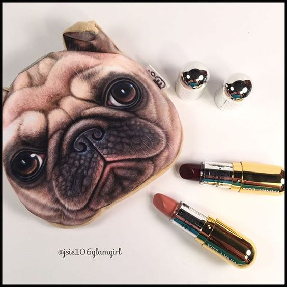 @winky_lux  The Marzia Lip Kit in shades Corallo (pinky nude) and Stella Marina (sparkly burgundy). And with this super cute Pug makeup (mini) bag. On sale now for $28. Woof!  #winkylux #makeup #beauty #pug #puglove #cosmetics #lipstick #nudelip