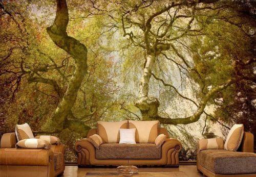 Magic Forest Sunny Trees Full Wall Mural Photo Wallpaper Print Home 3d Decal Photo Wallpaper Wall Murals Mural