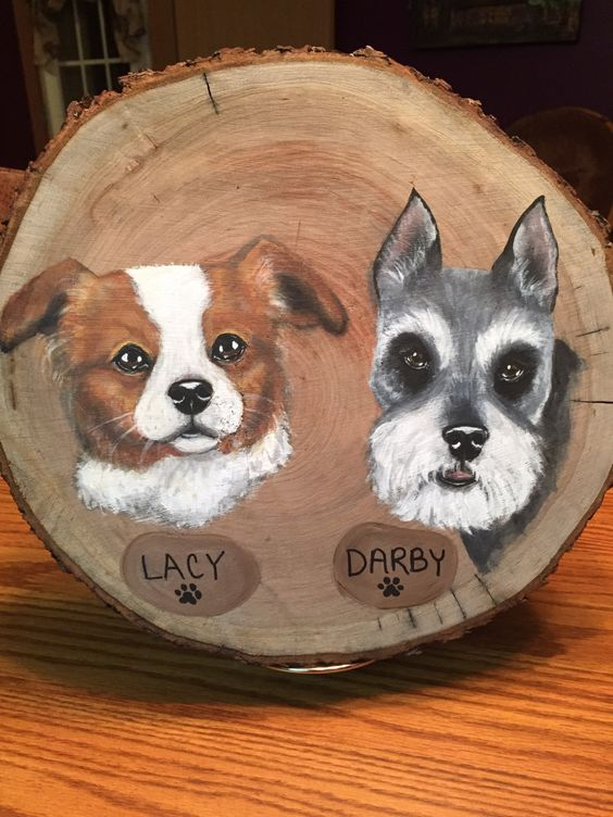 Hand painted custom pet portraits on wood by OhWandaCreations on Etsy