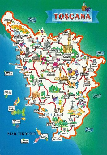 Toscana Map Toskana Reisen Toskana Karte Und Toskana Urlaub
