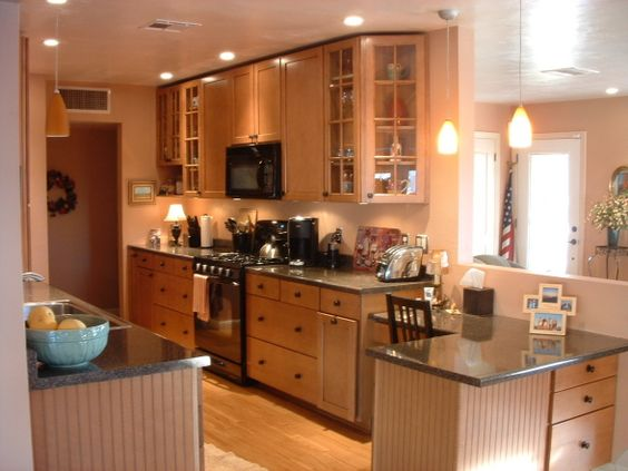 Expanded Galley Kitchen in reverse with desk to family room New House Pinterest Kitchens, Family Rooms and Spaces