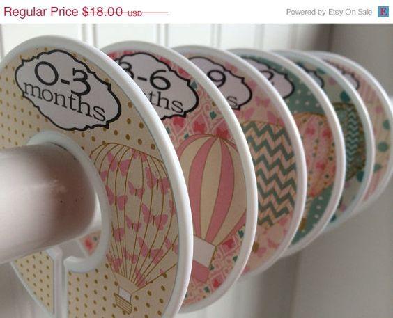Sur vente 6 bébé personnalisé diviseurs placard ballons organisateurs fille pépinière on Etsy, 18,21$ CAD