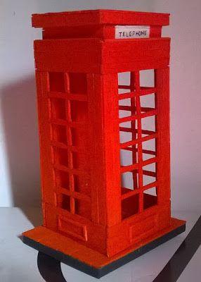 Nayane Martins: DIY - Cabine Telefônica de Palito de Picolé: