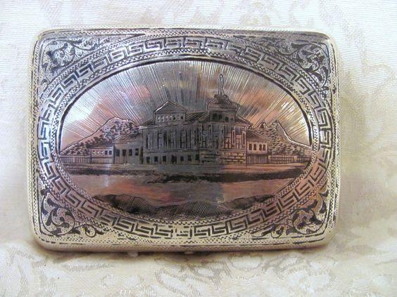 Antique Imperial Russian Silver Niello Cigarette Case Circa 1900