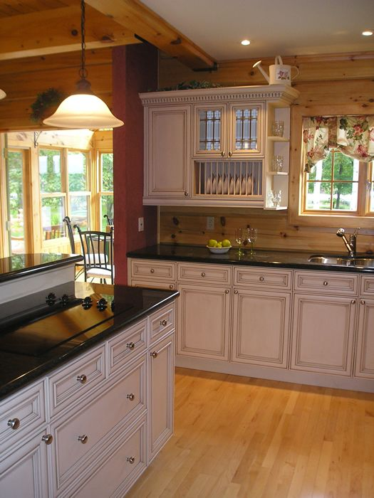 Love the white kitchen cabinets against the natural wood for White wood grain kitchen cabinets