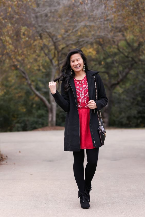 Holiday Red - Christmas outfit idea - Holiday outfit inspiration - Mint Julep - Red Embroidered dress