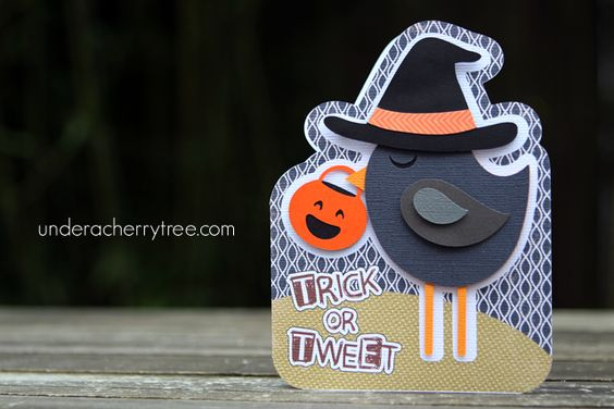 Under A Cherry Tree: Trick or Tweet!  Halloween card on Silhouette tutorial