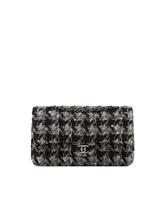 flap bag, tweed, lambskin & ruthenium metal-black, grey & white - CHANEL