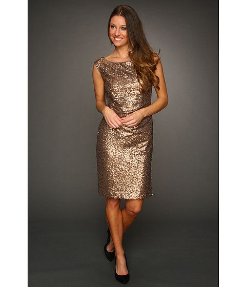 Vince Camuto Sequin Sheath Dress VC2T1817 Gold - 6pm.com Sizes 24 ...