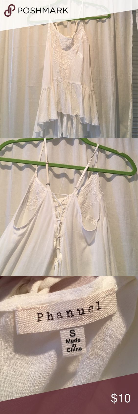 White Tank Top Long tank with ruffle hem and lace up back. Not free people but similar style. Only worn once Free People Tops Tank Tops