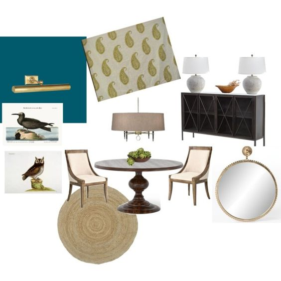 Dining Room by michele-wesdock on Polyvore featuring interior, interiors, interior design, home, home decor, interior decorating, Pottery Barn, Nearly Natural, Allegra and dining room
