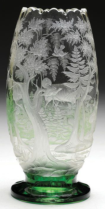 Best shape for large bouquets, gives stems room to drink water.  .Austrian intaglio carved vase