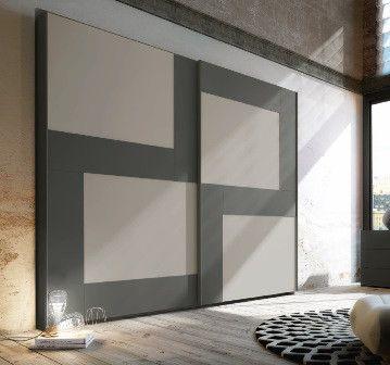 Armario blanco y gris con formas simétricas