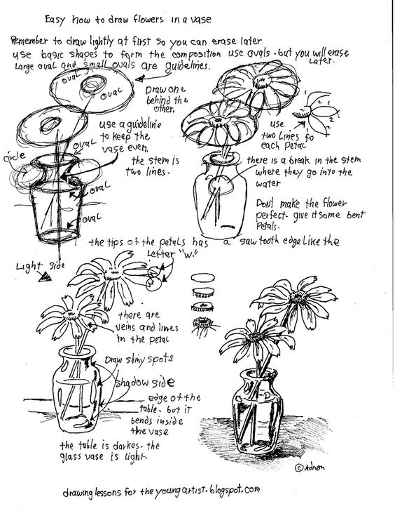 Worksheets Draw Art Transformations Free Worksheet how to draw flowers and the young on pinterest worksheets for artist easy in a vase free printable worksheet you can see project notes at the