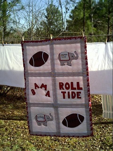 This is an appliqued Alabama football baby quilt I made several years ago.