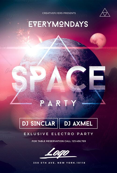 Space Party Flyer Psd Photoshop Templates Creative Flyers Flyer Space Party Flyer Template