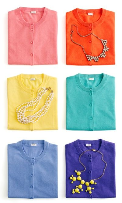 bright cardigans, chunky necklaces