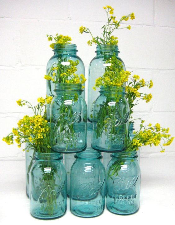 Jars centerpieces and the glass on pinterest