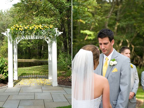 A Yellow and Grey DIY Wedding | We're having an arbor with some flowers for our ceremony backdrop.