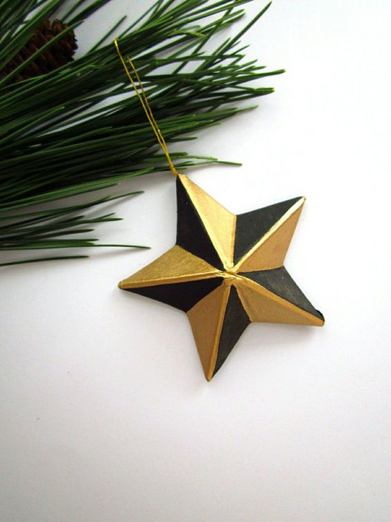 Hand Painted Star Ornament  Paper Mache Star by AshleyPahl on Etsy