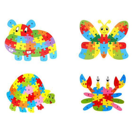 Nuevo Bebé Juguetes Educativos Rompecabezas de Juego Niños Rompecabezas de Animales 26 Letras De Madera juguetes de Madera para Niños Rompecabezas 3D brinquedo madeira