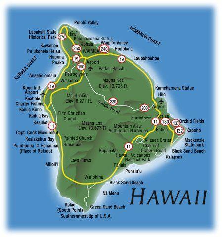 Map of the Big Island of Hawaii  Hawaii, Hawaii