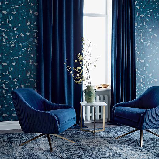 Worn Velvet Curtain Regal Blue