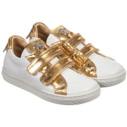 Young Versace - Gold & White Leather Medusa Logo Trainers | Childrensalon