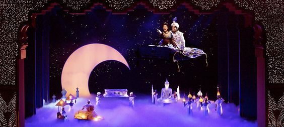 Review of Aladdin on Broadway. I know this isn't a picture of the Broadway cast, but still I have absolutely no idea how they made that carpet fly. I'm pretty sure it was actually magic.