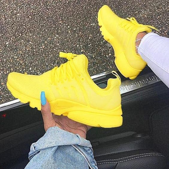"""NIKE""Air Presto Women Men Fashion Running Sport Casual Shoes Sneakers yellow white soles H-AA-SDDSL-KHZHXMKH from TOUR TOWN BEACH. #yellow #pesto."