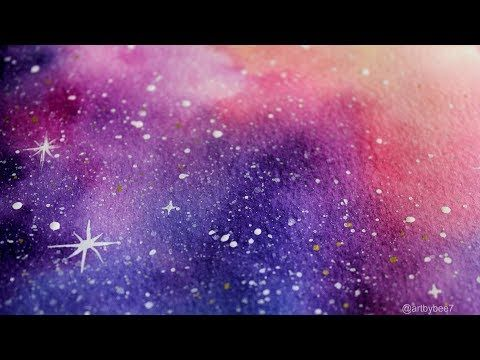Blending Watercolors Into A Galaxy Painting Youtube Galaxy