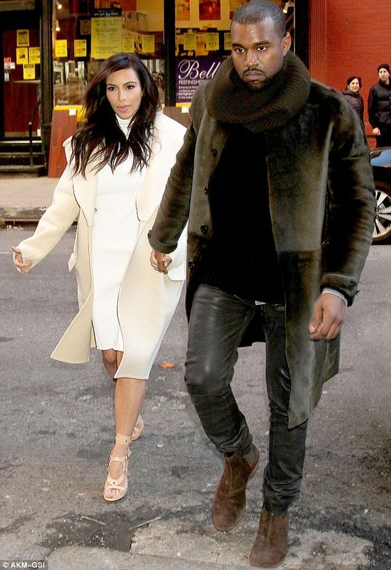 Kim Kardashian is angelic in white while Kanye West is brooding in dark ensemble as pair step out for lunch | Mail Online