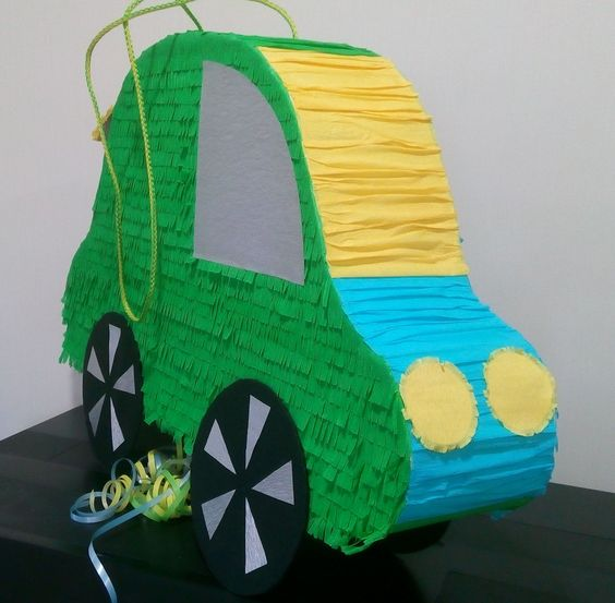 Automobile 2-sided pinata. Front view.  40*60 cm. Pull string.  Please find all of my handmade pinata at: https://www.facebook.com/BudetVeselo/photos/?tab=album&album_id=1499624303687333