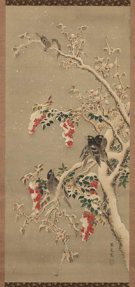 Birds and Fruit in Snow  雪中南天叭々鳥図  19世紀  江戸時代