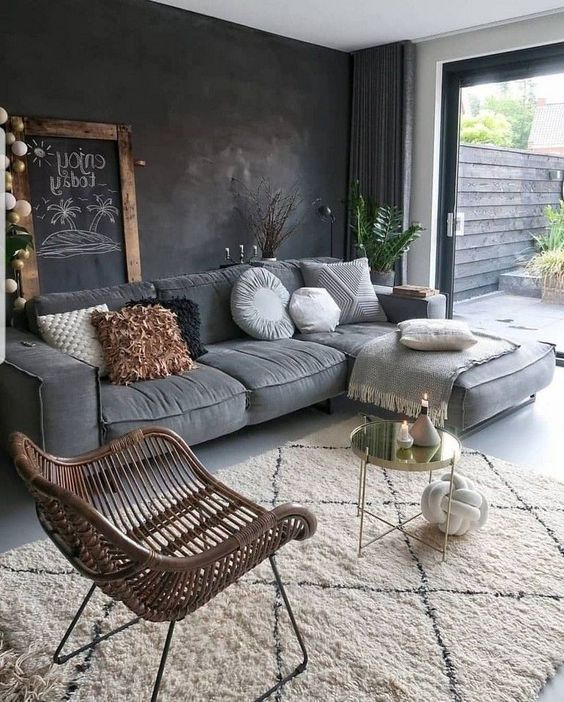 30 Awesome Ways To Style Your Grey Sofa In Living Room Page 24 Of 30 Vimdecor In 2020 Top Living Room Ideas Black Walls Living Room Living Room Grey