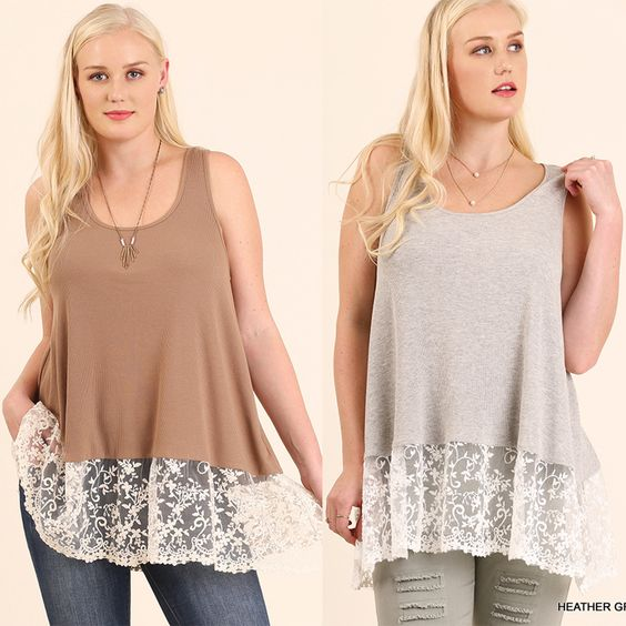 Umgee-WC0086 Mocha or Gray tank with lace available at Trees n Trends