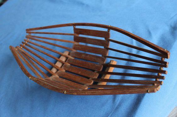 50er 60er Holz Teak Obst Schale Korb danish modern string ära mid 50s 60s in Möbel & Wohnen, Dekoration, Gefäße & Schalen | eBay
