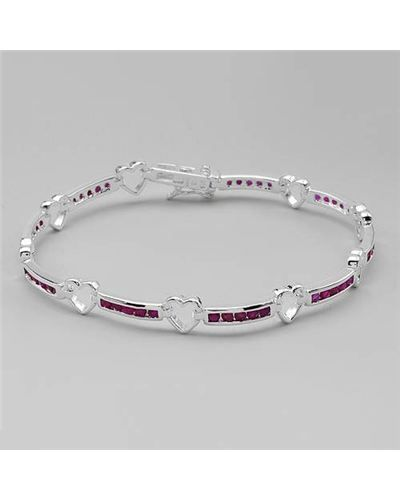 ruby & hearts!   Ladies Ruby Bracelet Designed In 925 Sterling Silver at Modnique.com