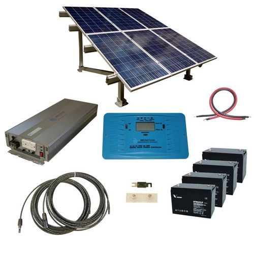 720 Watt Off Grid Solar Kit With 3000 Watt Pure Sine Power Inverter 24 Volt And Ground Mount Rack Solar Kit Solar Solar Heating