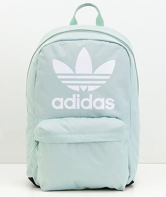 adidas Originals Big Logo Ash Green Backpack in 2019  b29cf162c4b1f
