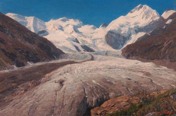 Georg Macco (1863 - 1933)  The Morteratschglacier and Piz Bernina near St. Moritz, the Engadine, 1895