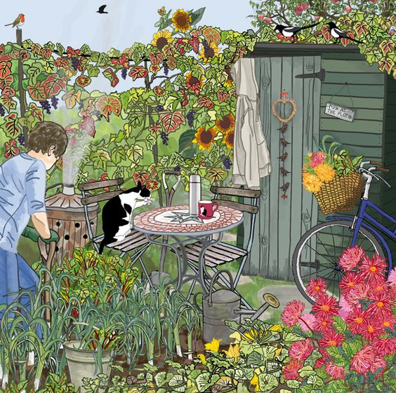 'Harvesting The Produce' By Graphic Artists Mig Wyeth. Blank Art Cards By Green Pebble. www.greenpebble.co.uk