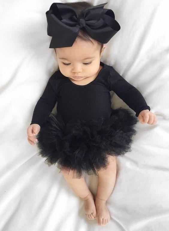 Clothes Baby Girls Litter Black Dress Lace Jumpsuit Tutu Dress Romper Bodysuit