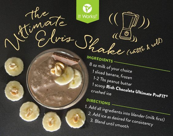 The Ultimate Elvis Shake is not only delicious, but it's good for you too. Made with ingredients that you can probably already find in your kitchen. All you need to do is add the Ultimate Profit Smoothie Mix in Creamy Vanilla from It Works.