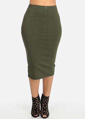 High Waisted Midi Skirt (Green)